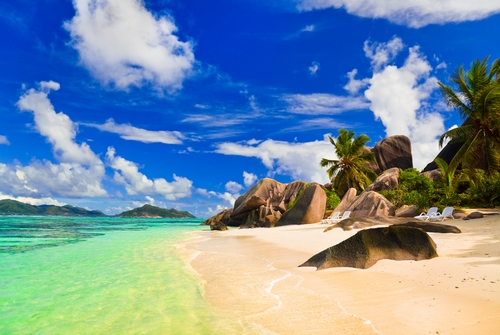 Beach Source d'Argent at island La Digue, Seychelles